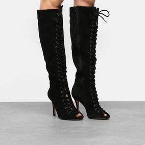 f8ccccf6a Bota Couro Cano Longo Shoestock Aberta Lace Up Feminina