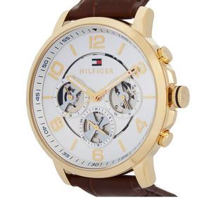 Relógios Masculinos Tommy Hilfiger Fundo Prata Couro Marrom