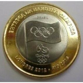 Quatro Moedas Comemorativas Da Bandeira Olímpica