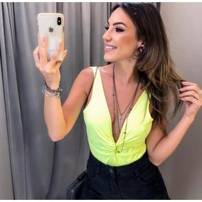 Body Maio Feminino S/ Bojo Decote Profundo Verde E Rosa Neon
