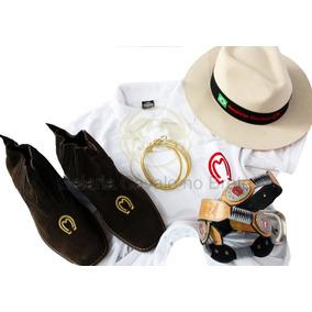 Combo Mangalarga Peão Camisa Chapéu Botina Cinto E Brinde