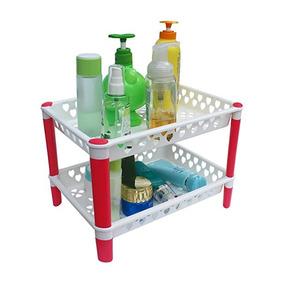 Honla 2-gradas De Plástico Estantes Baño Organizador Con Uni 85ad6a98dafe