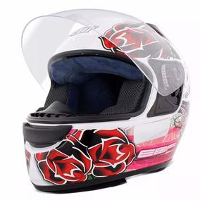 Capacete Moto Fechado Ebf E0x Feminino Roses Branco E Pink