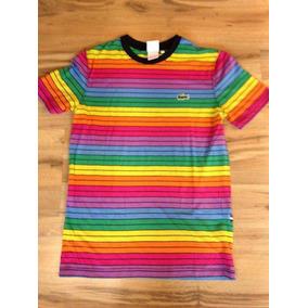 Camiseta Listrada Arco Iris Calcados Roupas E Bolsas No Mercado