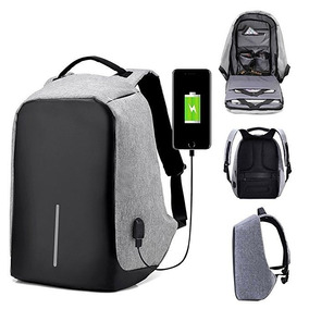 Mochila Backpack Anti Robo De Lona Con Puerto Usb