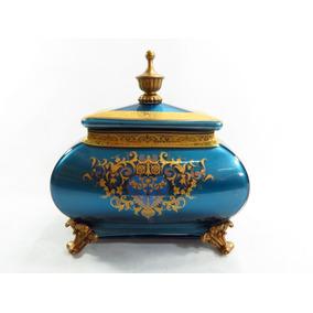 Porta Joias Caixa Em Cristal Azul Celeste Metálico E Bronze