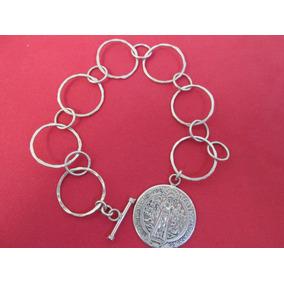 Pulso Dama Con Medalla De San Benito Plata Fina 925 .