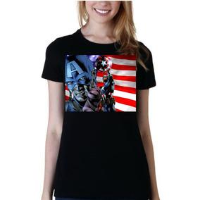 Remera De Mujer Superheroes Capitan America Mod13