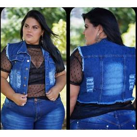 Colete Jeans Plus Size G1 G2 G3 Curto Moda Roupas Femininas