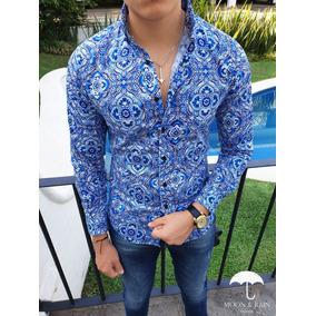 Camisa Slim Fit Floral Azul Moon & Rain