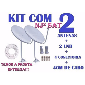 Kit 2 Antenas Banda Ku 60cm +lnb Simples+cabo Rg6 (completa)