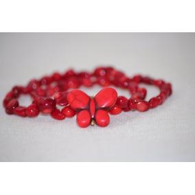 Pulsera De Coral Rojo Con Dije De Mariposa En Turquesa