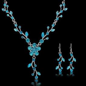 Set Collar + Aretes Flores Azul Turquesa Compromiso S-098