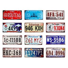 Kit 12 Placas Decorativa Metal Carro Alto Relevo Vintage K3
