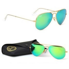 Óculos Ray-ban Aviador Dourado Verde Espelhado Original. R  155 b40907b047