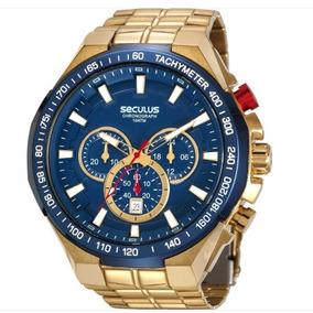 Relógio Pulso Seculus Masculino Chronograph Fun Azul Dourado