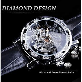 Relógio Winner Masculino Luxo Skeleton Silver Gmt10896