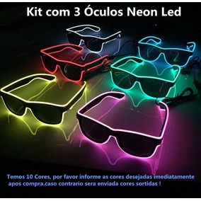 790d48996df9e Kit 3 Óculos Neon Led Festa Balada Dj Tomorrowland A Pilha