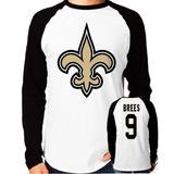 48bd21cbdc Camisa Blusa New Orleans Saints Brees Manga Longa Nfl
