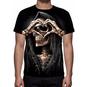 Camisa, Camiseta Caveira Rock Love - Estampa Total