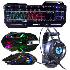 Kit Gamer Headset 5.1 Teclado Led Mouse 3200dpi Luz Led Hz1