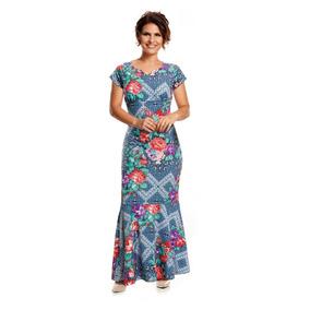 Vestido Aline Barros Em Jersey Acetinado Longo