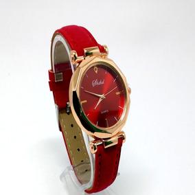 Relógio Feminino De Luxo Cristal Pulseira De Couro Vermelho