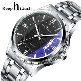 Relógio Luxo Keep In Touch Calendário Aço Inox