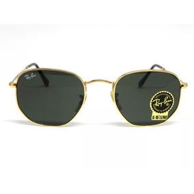 8f72ca3ed50ce Óculos Sol Ray-ban Hexagonal Preto  dourado Tamanho 51 Ou 54