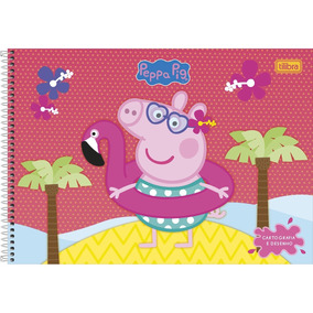 Caderno Peppa George Cartografia E Desenho Capa Dura 80 Fls