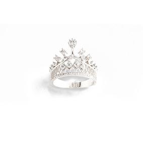 Anillo Corona, 4 Baños De Rodio Y Diamantes De Cristal