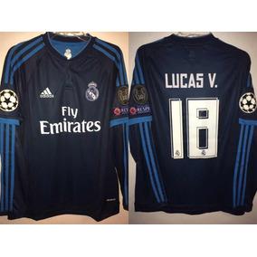 0fa986f1b0eee Camiseta Del Real Madrid Manga Larga Color Negro Dorado en Mercado ...