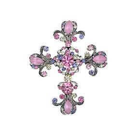 Alilang Antique Silver Tone Pink Purple Rhinestones Pastel H