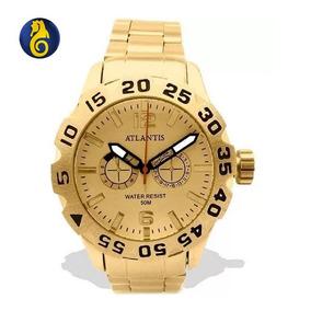 6c9323cea56 Relógio Masculino Original Promoção Barato Dourado Atlantis