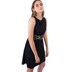 Vestido Con Aplicacion En Cintura Dorian Negro
