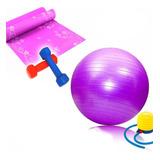 Set De Pilates Pelota+colchoneta+inflador+mancuernas 1/2 Kg