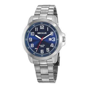 602dbb0ec17 Relógio Seculus Stilo Modelo 23090g0 Prata Fundo Azul - Relógios De ...