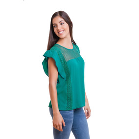 Blusa Dama Color Jade Olan En Manga Devendi Denim Co.