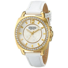 Coach Mini Boyfriend White Leather Strap Crystal Glitz Women
