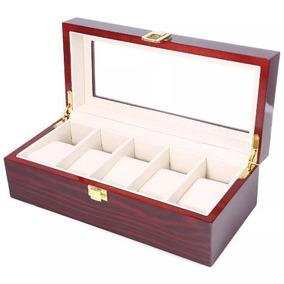 Caja Cubierta Relojes Para 5 Pzas De Madera Ultra Resistente