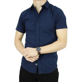 Camisa M/c Textura Marino