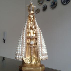 Nossa Senhora Aparecida Dourada, Pérolas, Strass, Coroa 30cm