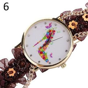 Relógio Luxo Pulseira De Renda E Correntes