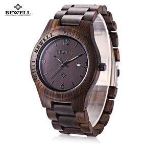 Bewell Zs - W086b Hombres De Madera Reloj Pulsera De Cuarzo