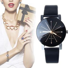 Kit Com 3 Relógios Feminino Pulseira De Couro-com Caixa