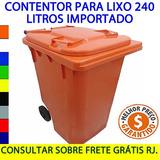 Lixeira Contêiner 240 Litros Contentor De Lixo 240 Cores Rj