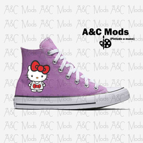 Tenis Hello Kitty Cute Red Bow Lila Pintado A Mano