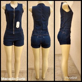 Macacão Curto Jeans Curta Feminina