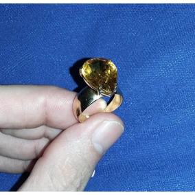 Ouro Amarelo 6,6g Aro 19 Anel Topázio Amarelo Tipo Gota