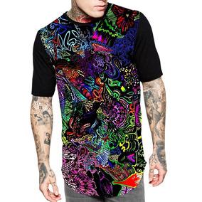 Camiseta Longline 3d Full Unissex Roupa Psicodélica Ref.3040